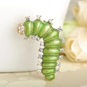 Jewelry - Bright Green Silkworm Brooch with Crystals